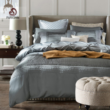 Здесь можно купить  ParkShin Gray Pull Flowers Process Bedding Set Tribute Silk Duvet Cover Set 100% Cotton Soft Bed Set With Flat Sheet 4Pcs