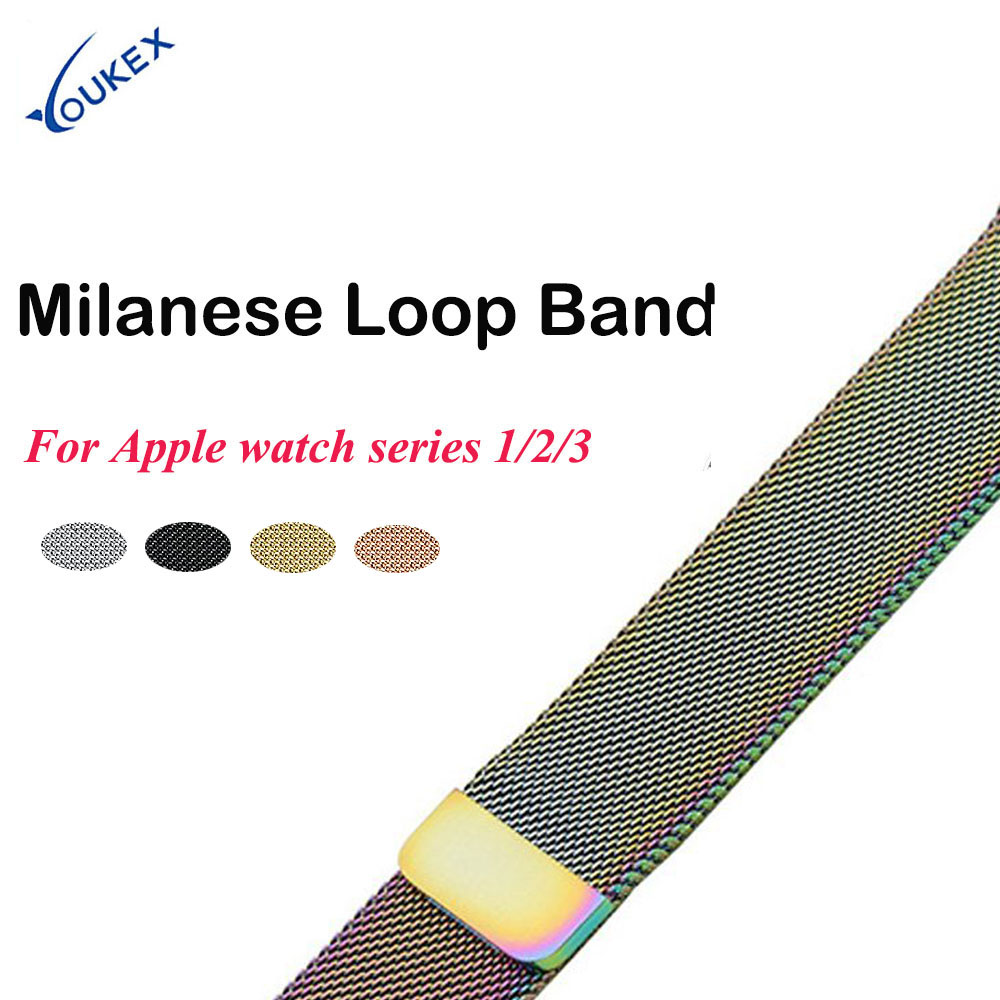 YOUKEX Stainless Steel Milanese Loop Band for iWatch 38mm 42mm Replacement Bracelet Wrist Strip for Apple Watch Series 1, 2, 3 v moro stainless steel milanese loop band for apple watch 38mm 42mm with strap adapter