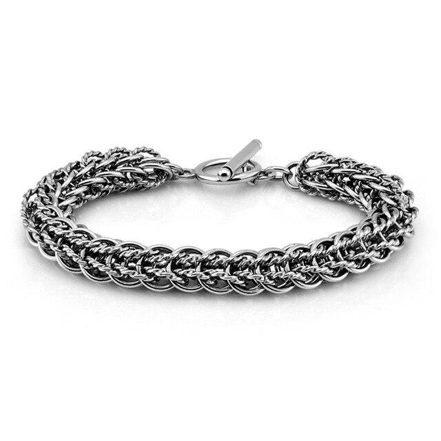 New Fashion Men Silver Bracelet Solid 925 Sterling Mm21cm 10 S Retro