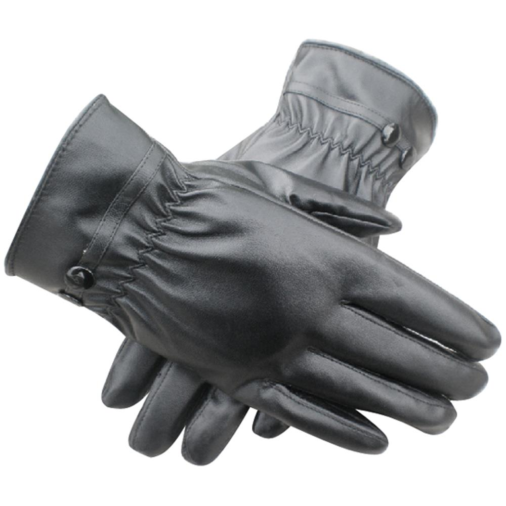 Black leather gloves buttons - Hot Sale Uk Women Winter Thermal Lined Driving Smart Warm Soft Leather Gloves Button Fasten
