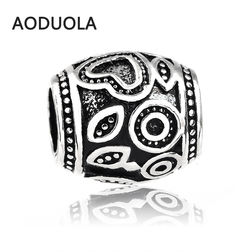 10 Pcs a Lot Lampwork Alloy Beads Sliver DIY European Beads Spacer Metal Chunky Bead Pendant Fit For Pandora Charms Bracelet