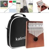 17 Key Kalimba Single Board Mahogany Thumb Finger Piano Set Mbira Mini Keyboard Instrument with Bag and Complete Accessories