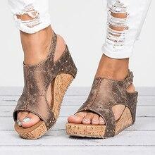 女性のサンダル2020プラットフォームサンダル女性のためのsandalias mujer夏の靴革ウェッジヒールのサンダル43