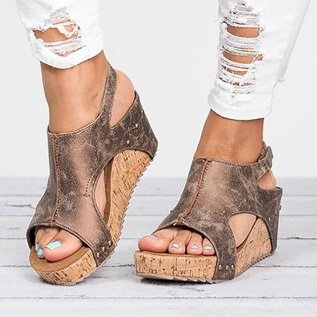 Sandalias de Mujer 2019 Sandalias de plataforma cuñas zapatos de tacón para Mujer Sandalias Mujer zapatos de verano Sandalias de tacón de cuña de cuero 43