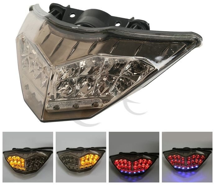 Motorcycle ABS Smoke Rear LED Taillight Turn Signals For KAWASAKI NINJA 300 250R 2013-2017