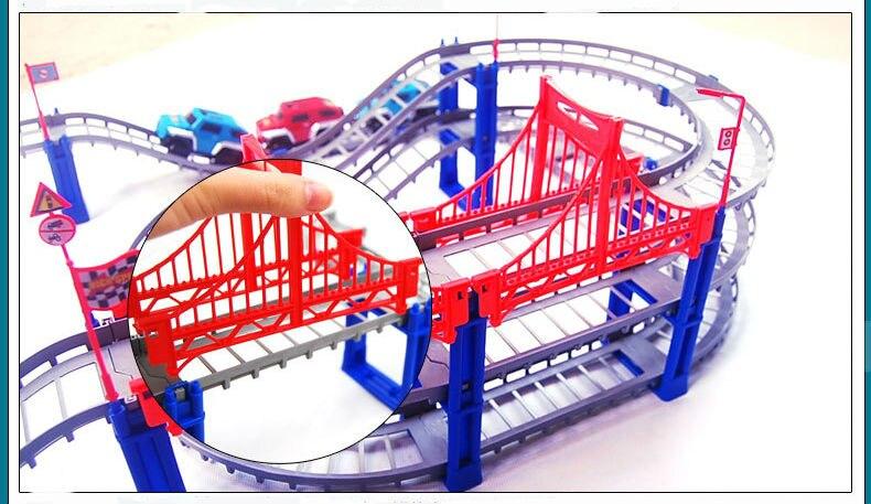 Купить с кэшбэком 140pcs supper big DIY Assemb Slots Off-road Vehicle 3D Electric Rail Car 3Layers Slot Kit Spiral Track Roller Coaster Child Gift