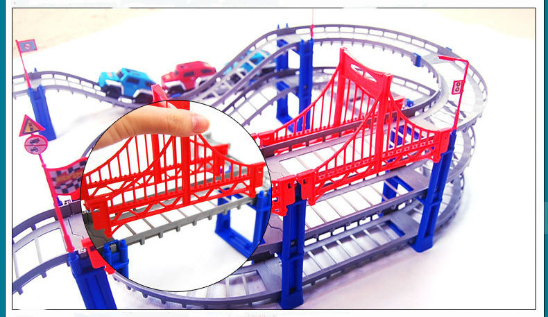 Image 5 - 140pcs supper big DIY Assemb Slots Off road Vehicle 3D Electric Rail Car 3Layers Slot Kit Spiral Track Roller Coaster Child Gift-in Diecasts & Toy Vehicles from Toys & Hobbies on AliExpress