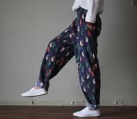 2017 Women Spring Autumn Loose Corduroy Full Length Pants Bird Printing Cute Fashion Harem Trousers Ladies