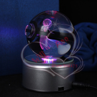 New Style Gardevior Pokemon Ball Engraving Crystal Ball Rorate Led Base Night Lamp Home Decoration