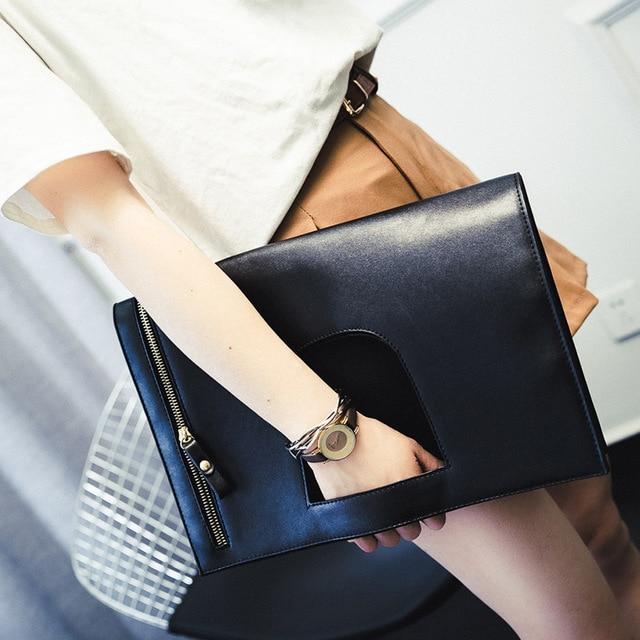2016 autumn new clutch Korea simple lady envelope bag large folding soft hand clutch bag