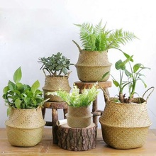 Handmade Woven Storage Baskets Foldable Laundry Straw Wicker Baskets Natural Rattan Seagrass Garden Flower Pot Planter Basket недорого