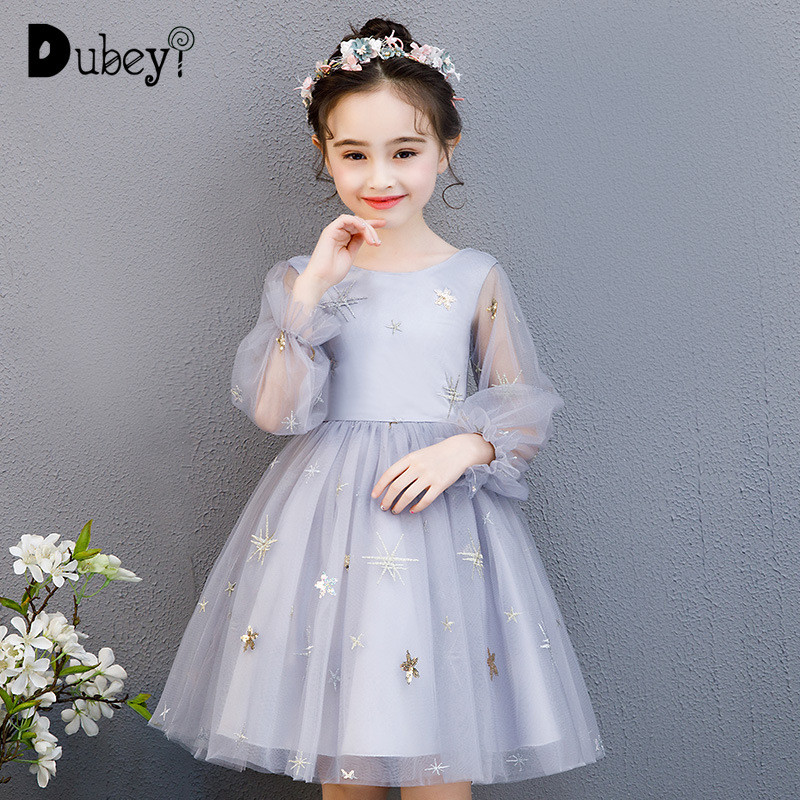 Elegant Teens Girls Stars Embroidery Party Dress Puff Tulle Sleeve Princess Costumes Silver Evening Dress for