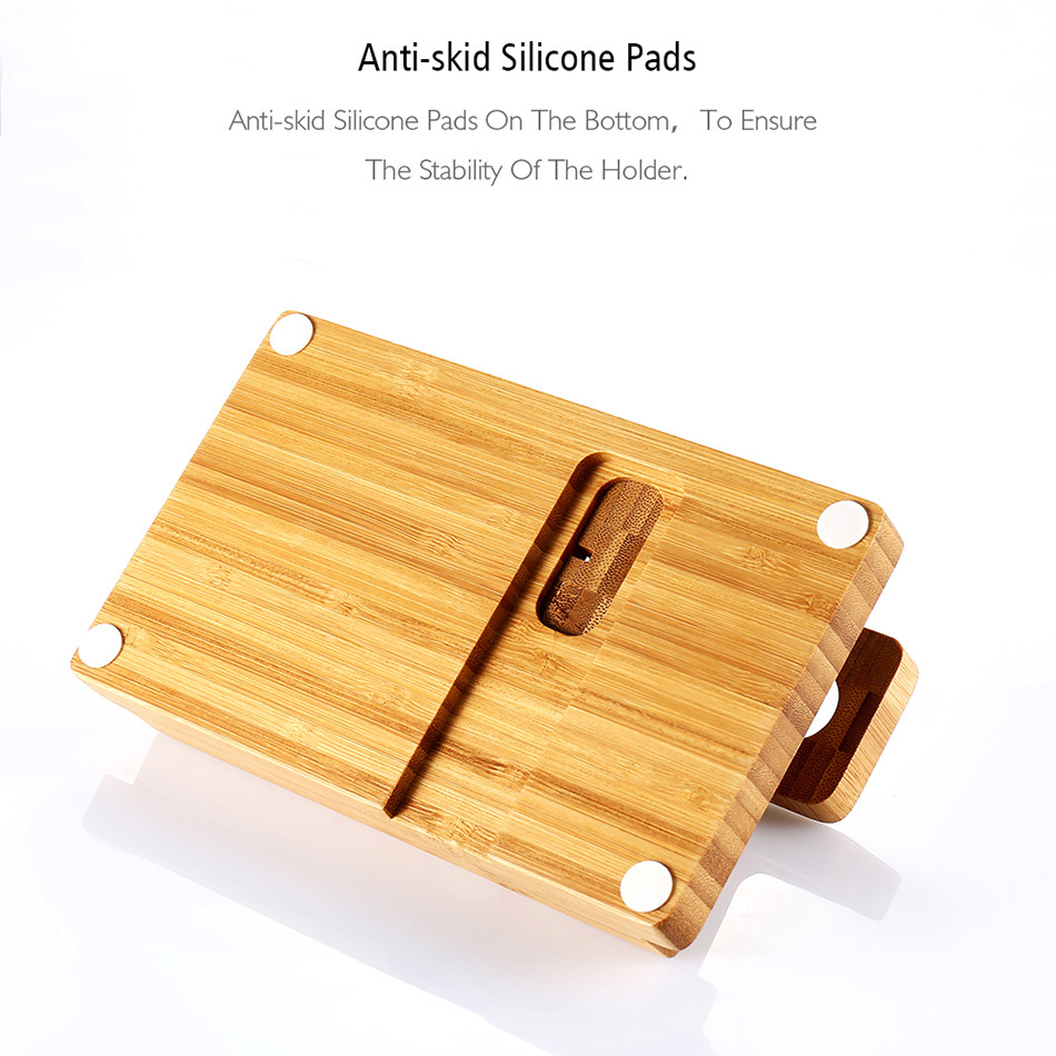 Universal Natural Bamboo Charging Dock Cradle Stand Detachable Multifunction Phone Holder (4)