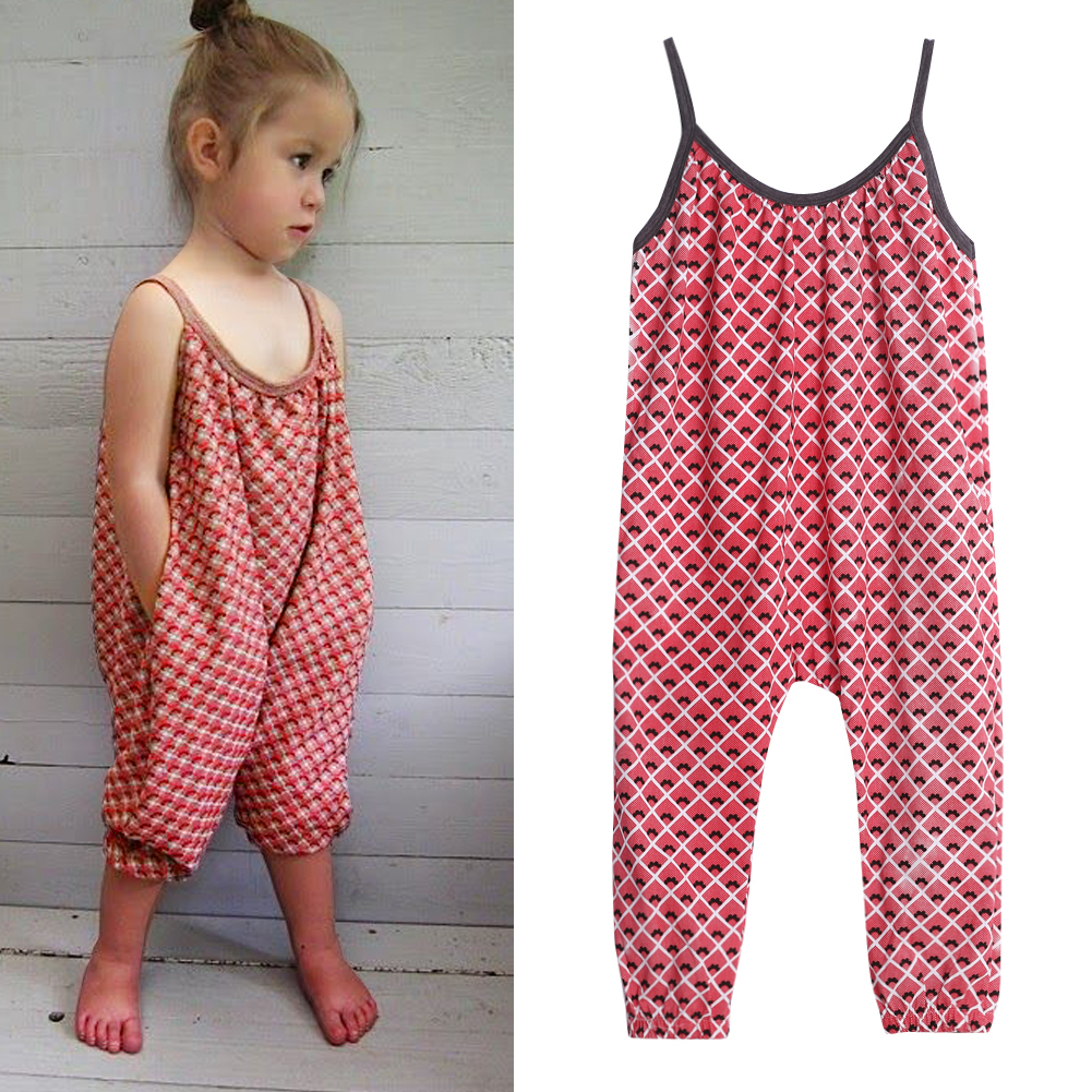 New Girls Overalls Kids One Piece Floral Playsuit Jumpsuits Children Suspender Outfit Girls ...