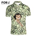 FORUDESIGNS 2017 New Fashion Summer Mens Polo Shirt Novelty 3d dollar price cat printing Polo Shirt Men Cotton Shirt For Youth