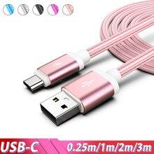 Tipo C Cabo USB de Carga Rápida Para Samsung Galaxy Nota 10 S20 Ultra A50 Plus 3m 2m Cabo Usb Kabel Cabos Para Xiaomi Mi A3 9 8 USBC