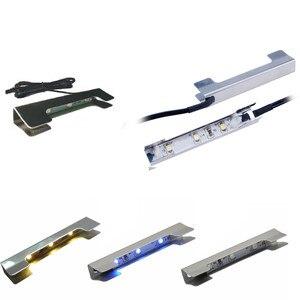 Image 5 - AIBOO светодиодный светильник под шкафом для стеклянной полки с краями задняя сторона зажим полосы освещения 4 лампы с радиочастотным пультом и адаптером
