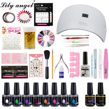 Lily Angel gel nail kits with lamp 90Colors UV Gel Nail Polish Soak Off  36W&48W Intelligent LED Lamp Art Tool Sets Kits
