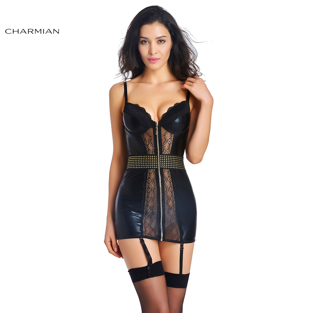 Charmian Women's Gothic Steampunk Lace Faux Leather Chemise Lingerie Sexy Hot Erotic with Garter Bodycon Mini Dress Sleepwear