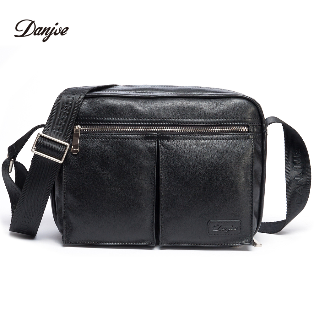 DANJUE Genuine Leather Men Travel Shoulder Bag Double Zipper Designer Crossbody Bag Business Fashion Real Leather Briefcase Bag genuine leather men travel bab shoulder bag gentleman business bag real leather men crossbody bag brand fashion handbag
