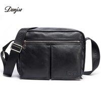 DANJUE Genuine Leather Men Travel Shoulder Bag Double Zipper Designer Crossbody Bag Business Fashion Real Leather Briefcase Bag
