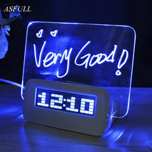 ASFULL LED digital alarm clock Fluorescent with Message Board USB Port Hub Desk Table Clock led desk clock With Calendar(China)