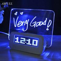 ASFULL LED digital alarm   clock   Fluorescent with Message Board USB Port Hub Desk Table   Clock   led desk   clock   With Calendar