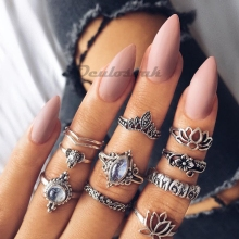 10pcs/lot Fashion Women Female Alloy Hollow Out Bow Rings Sets Bohemian Boho Finger Ring Jewelry Kit for Women Girls Wholesale stylish rhinestoned bow hollow out bracelet for women