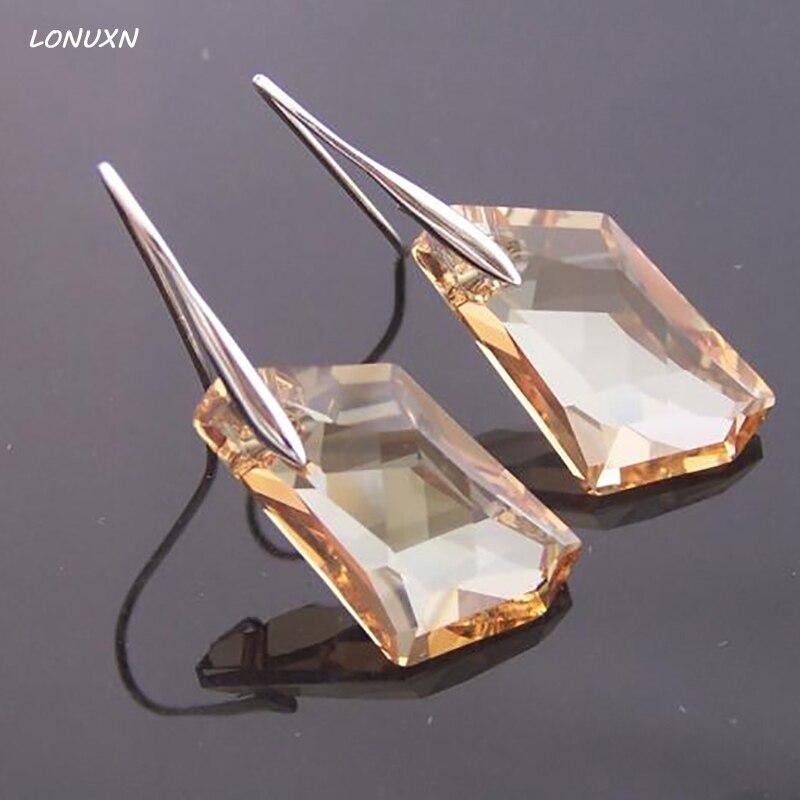Haute qualité filles 925 en argent Sterling femmes bijoux jaune irrégulier cristal 925 argent coréen boucles d'oreilles amoureux meilleur cadeau