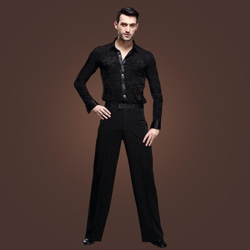4 set/lotto Alla Moda Latin Dance Apparel Nero Maniche Lunghe Snellisce Pantaloni Camicia Signori Perfomance Stage Show Abbigliamento tl801
