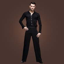 4sets/lot Stylish Latin Dance Apparel Black Long Sleeves Slims Shirt Pants Gentlemens Perfomance Stage Show Clothes tl801