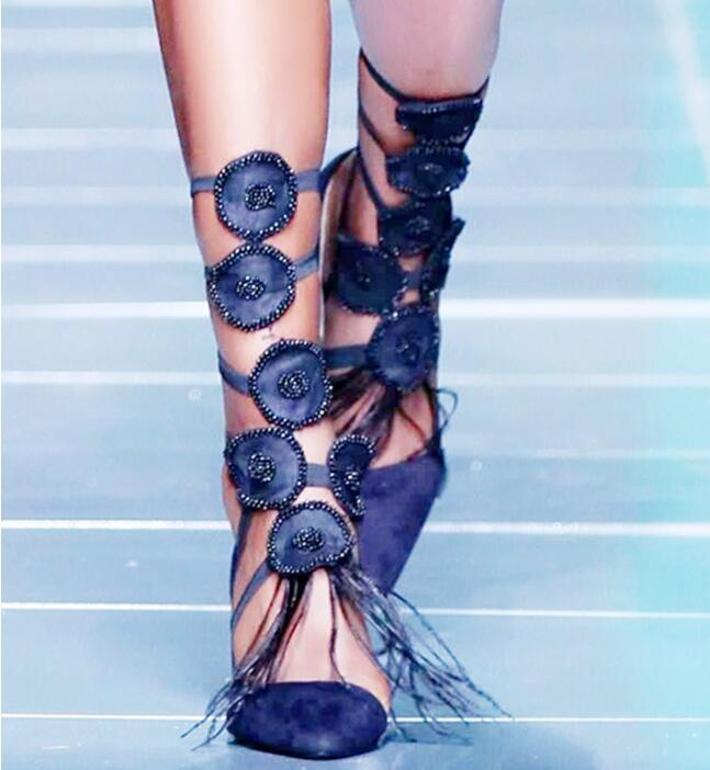 Blue Feather Women Pointed Toe Mid-Calf Boots Luxury Crystal Appliques Ladies Gladiator Boots Zipper Back High Heel Summer Boots bling stars printing pvc transparent crystal heels mid calf boots for women pointed toe back zipper thick high heel summer boots