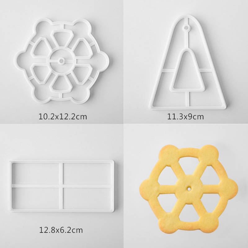 Image 5 - 3PCS  Bakeware Ferris Wheel Shaped Cake Tools  Plastic  Fondant Biscuit Mold Baking Mould Cookie Cutter  Kitchen Gadgets-in Cake Molds from Home & Garden