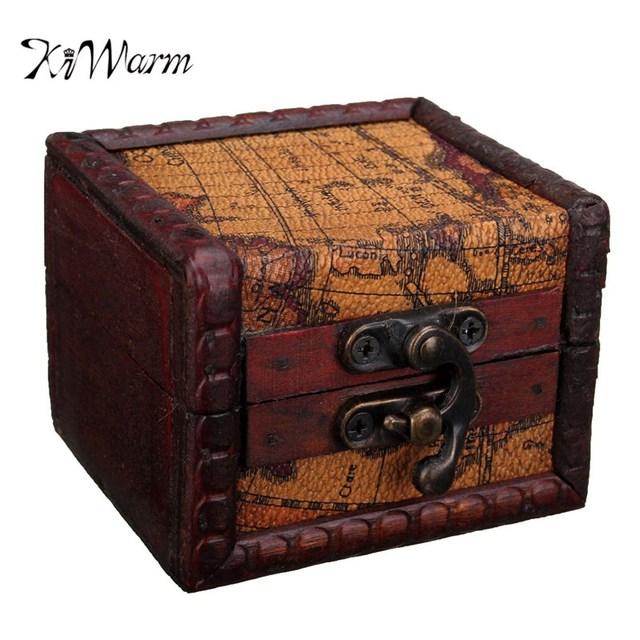 KiWarm Vintage Small Wooden Retro Map Pattern Lock Jewelry Holder - Antique map box