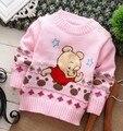 2014 новое прибытие мода длинным рукавом хлопок персонажа из мультфильма медведи медвежат цветочные о-образным вырезом детская одежда свитера бесплатная доставка