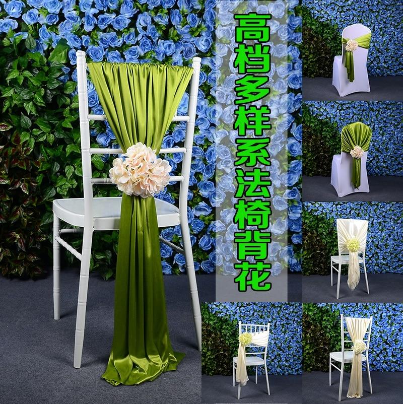 Outdoor Lawn Wedding Bamboo Chair Decoration Ice Silk Chair Sash