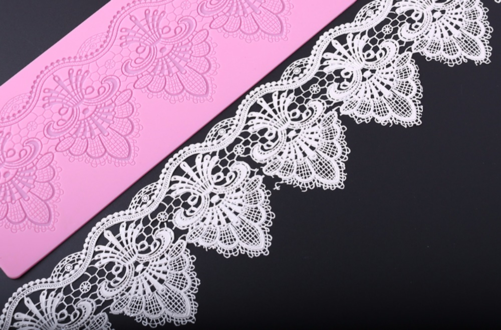 MX102 European Style Retro Flower Lace Mould Silicone Sugar Lace Pad Cake Brim Խոհանոցային պարագաների DIY գործիք