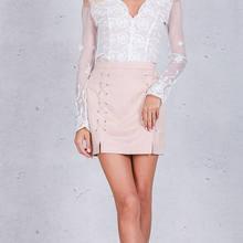 708889f95 Simplee Autumn lace up leather suede pencil skirt Winter 2016 cross high  waist skirt Zipper split