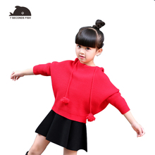 лучшая цена girls sweaters 2019  kids sweaters yellow  blue bat sleeve loose casual blouse pullover sweater girls clothes 3 6 8 10  14 years