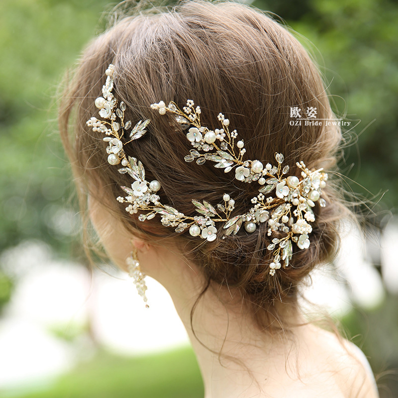 Headdress Hair-Accessories Flower Pearl Brides Wedding Gold Women Barrettes Ceremic Luxury