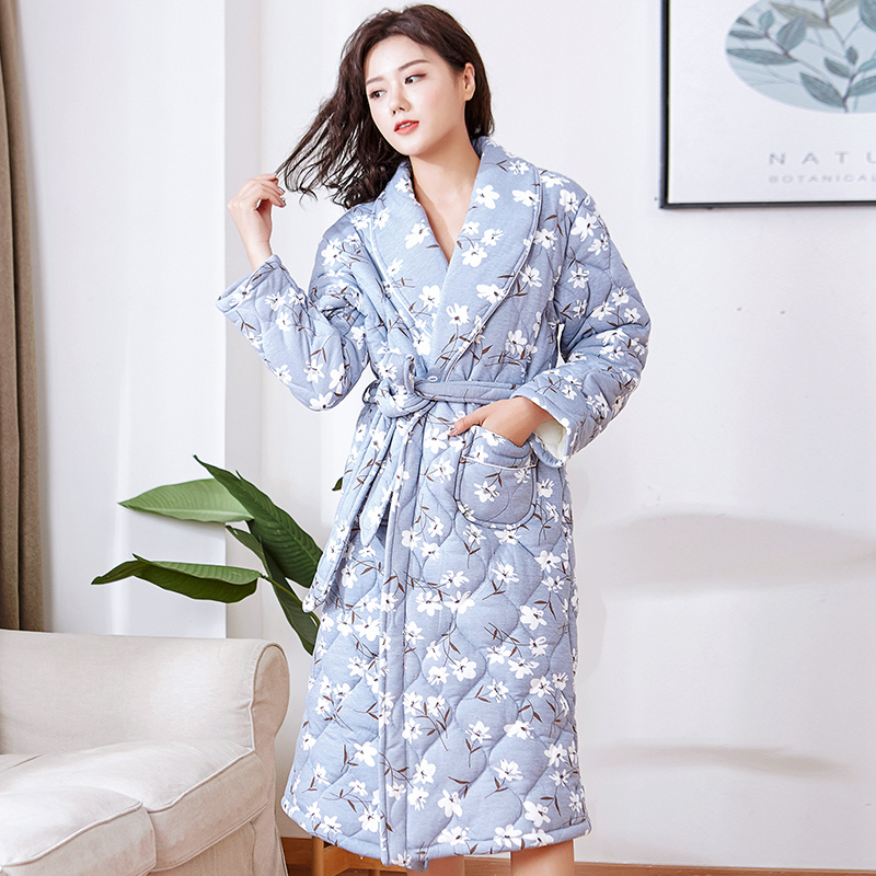 J Q New Winter Robe Housecoat Long Sleeve Floral Cotton Sleepwear High Quality Brandy Female Robes