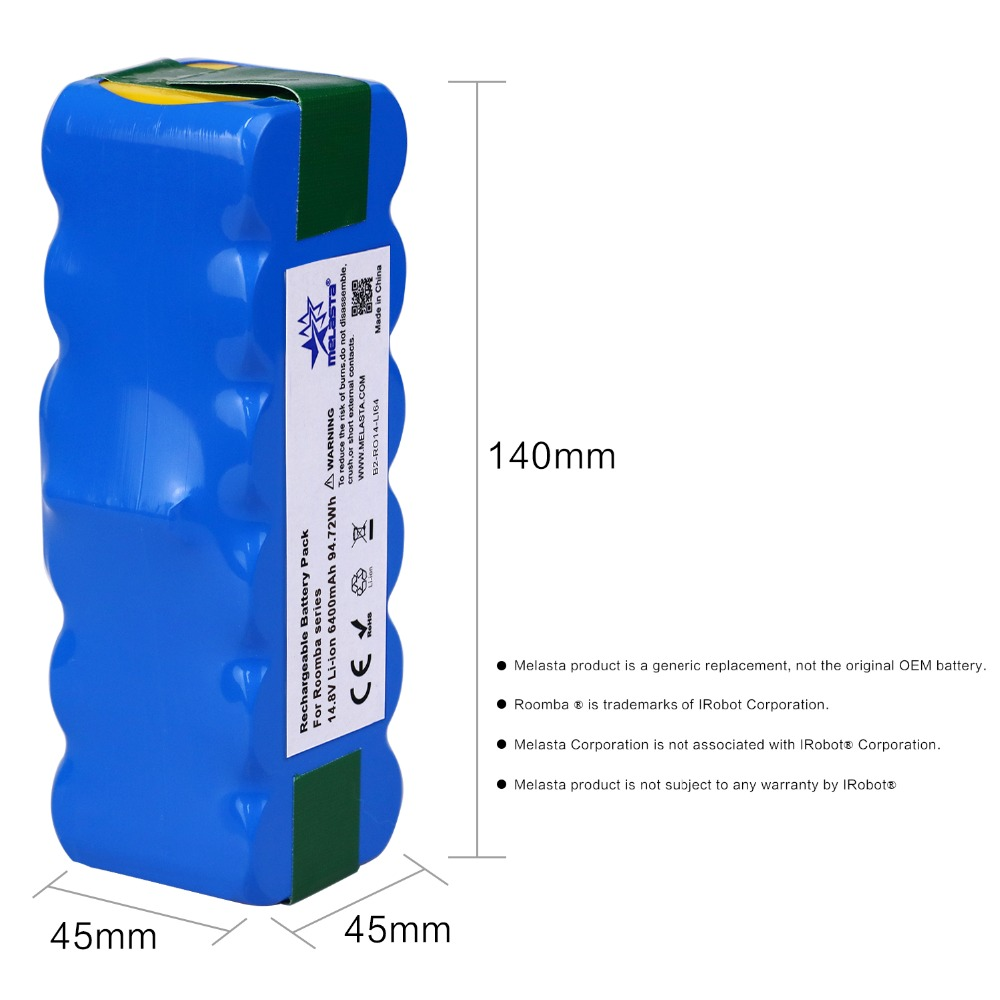 6.4Ah 14.8 V batterie li-ion pour iRobot Roomba 500 600 700 800 Série 510 530 550 560 580 620 630 650 760 770 780 790 870 880 R3 - 5