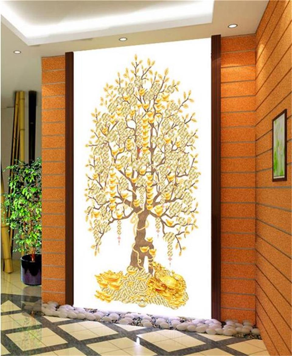 custom 3d photo wallpaper Chinese money gold tree 3d picture living ...
