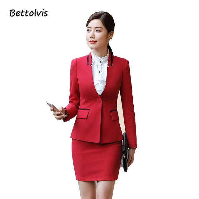 f1daee9d5ed placeholder 2019 Autumn winter long-sleeve work wear slim women suits with skirts  OL office ladies