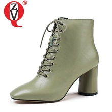 Booties Woman Shoes 7cm-Heels Large-Size Winter Genuine-Leather Fashion Ladies Ankle