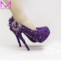 High Heel Fashion Fower Rhinestone Bridal Shoes Purple Lace Wedding Shoes Beautiful Platform Crystal High Quality