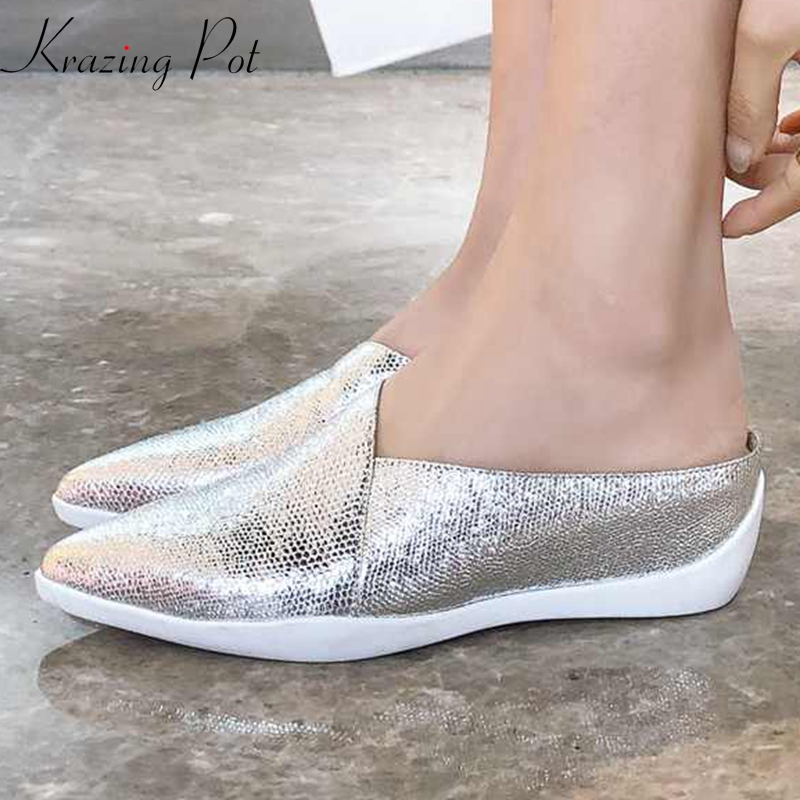 Krazing Pot new special sheep leather wedges pointed toe sneakers summer fashion bling flip flop rhinestone