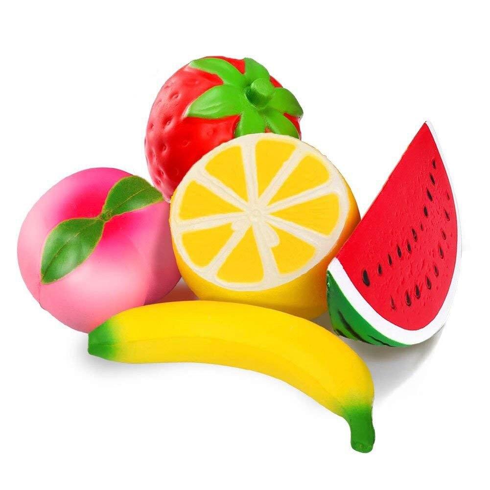 5pcs Jumbo Squishies Slow Rising Strawberry Watermelon Banana Peach Lemon Fruit Squishies Kawaii Scented Charms Hand Wrist Toy