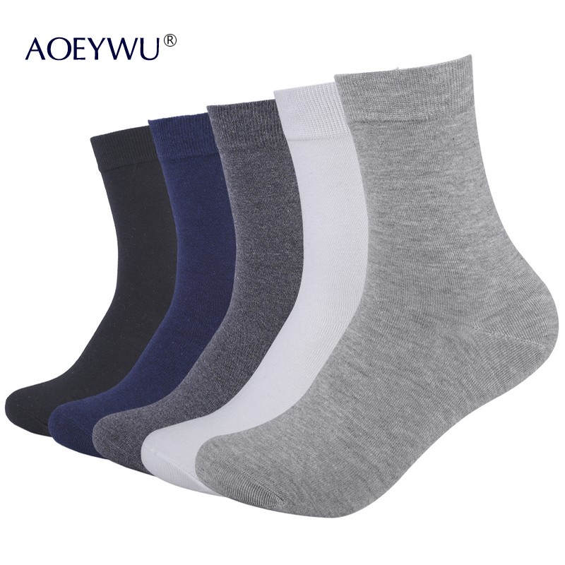 Eur40-44 High Quality Men Brand Business Cotton Socks Male Autumn Winter Black Middle Tube Sock 5pairs/lot S07 Underwear & Sleepwears