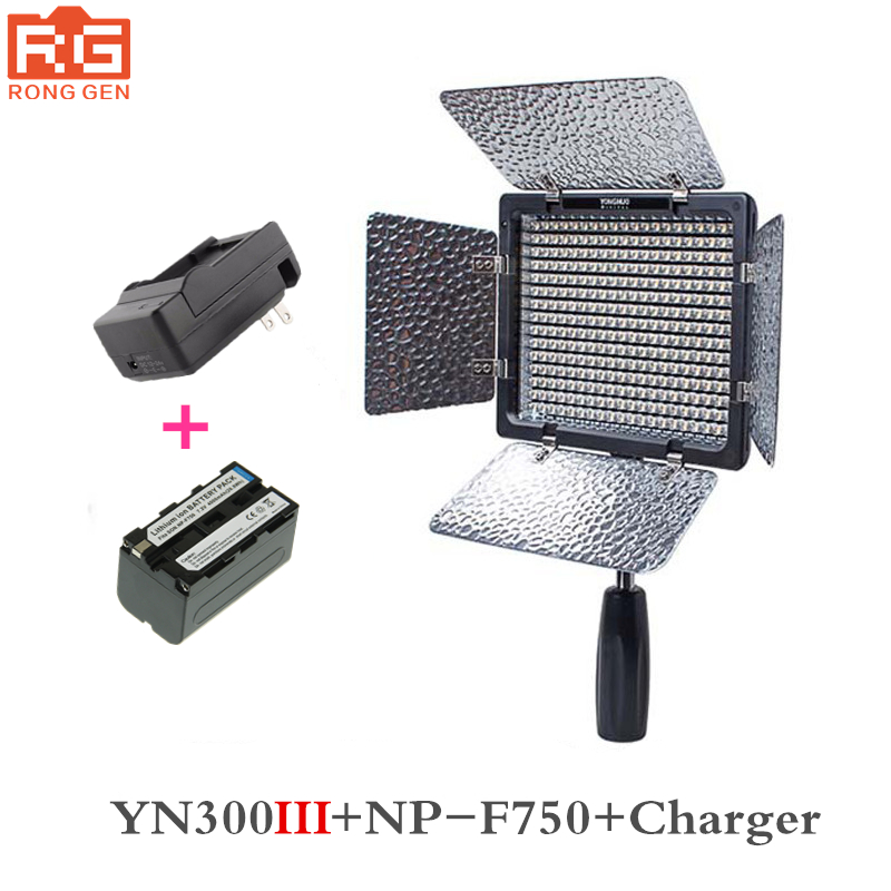 Yongnuo YN300 III YN-300 III 3200k-5500K CRI95 Camera Photo LED Video Light with 4600mAh NP-F750 Battery with Charger set цена 2017